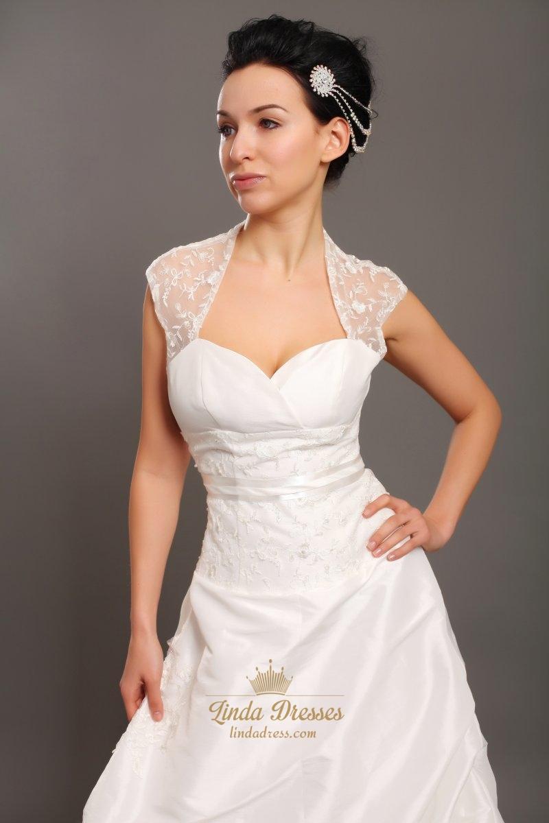 Ivory taffeta open back cap sleeve wedding dress with for Cap sleeve open back wedding dress