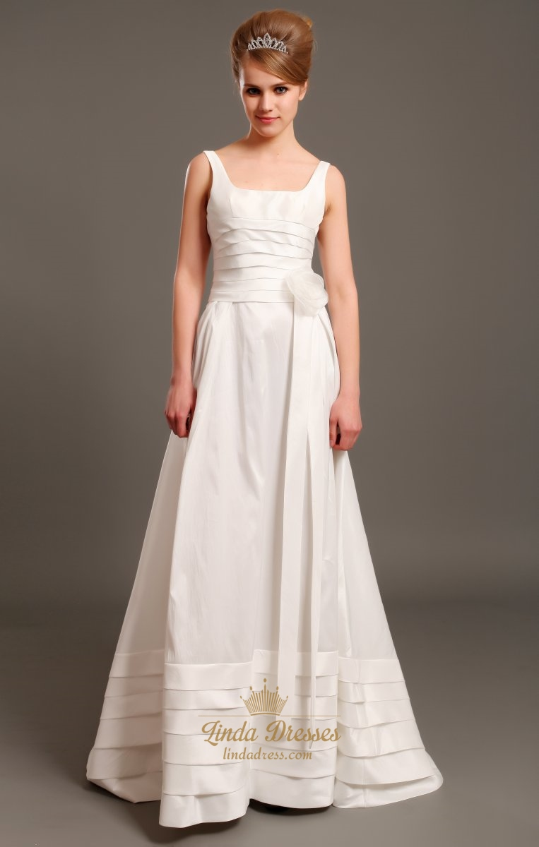 Ivory Taffeta Square Neck Sleeveless A Line Wedding Dress With ...