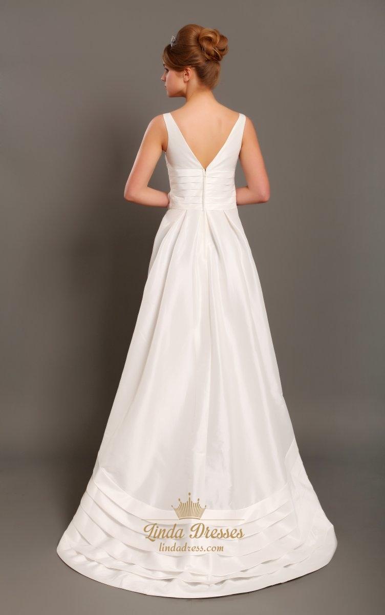 Ivory taffeta square neck sleeveless a line wedding dress for A line taffeta wedding dress