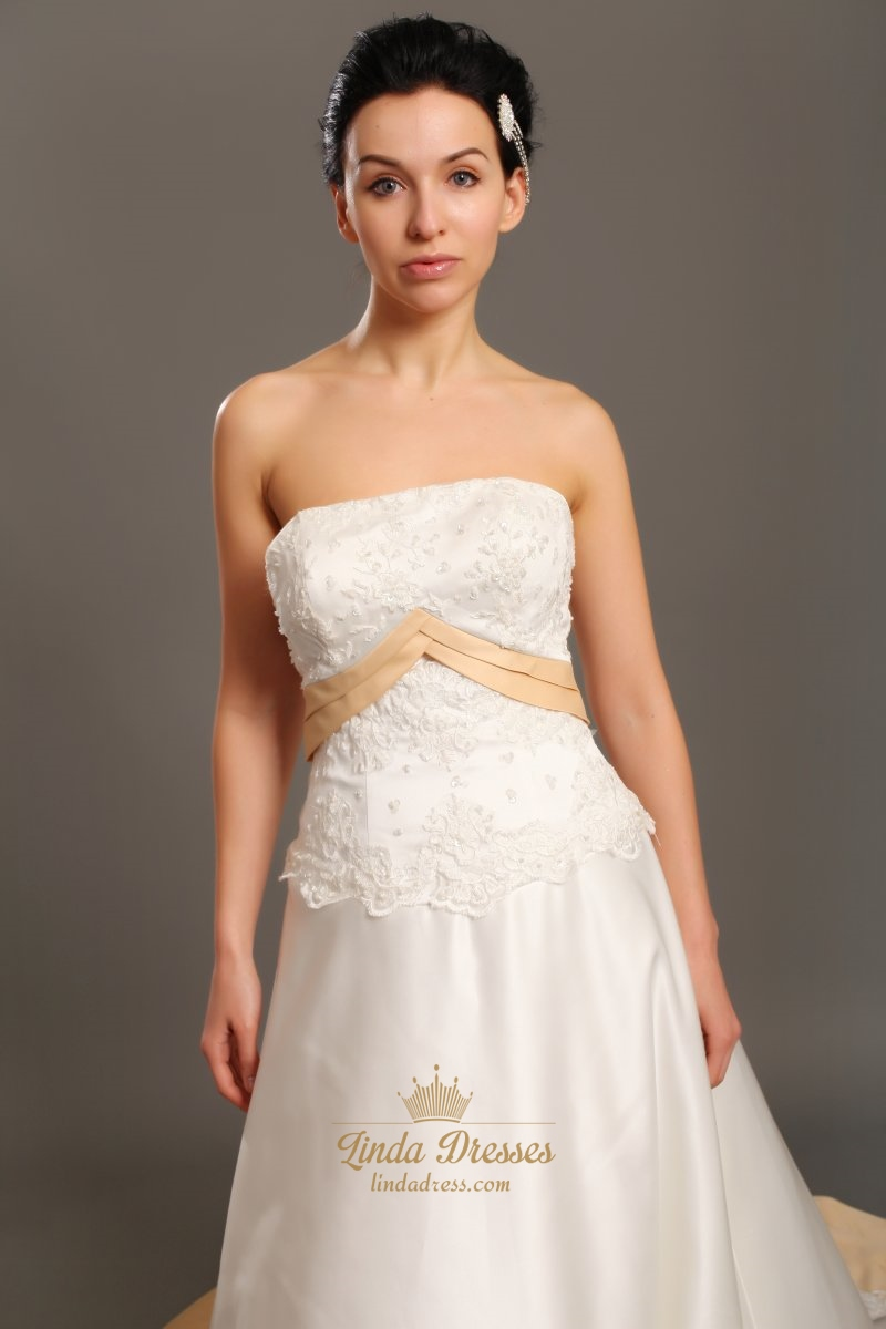 Ivory and gold strapless taffeta wedding dresses with lace for Strapless taffeta wedding dress