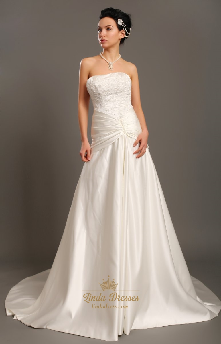 Taffeta Strapless Trumpet Wedding Dresses With Beaded Lace : Elegant ivory strapless a line taffeta wedding dress with
