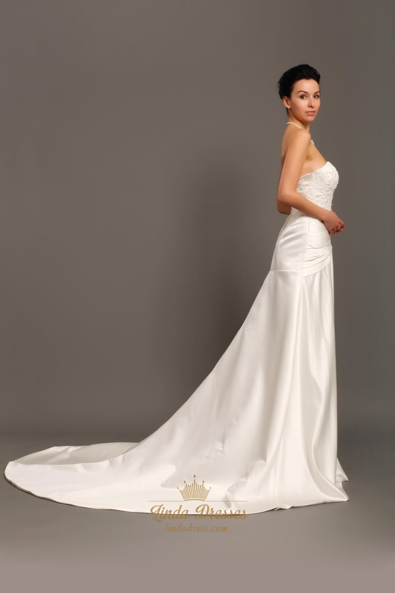 Elegant ivory strapless a line taffeta wedding dress with for A line ivory wedding dress