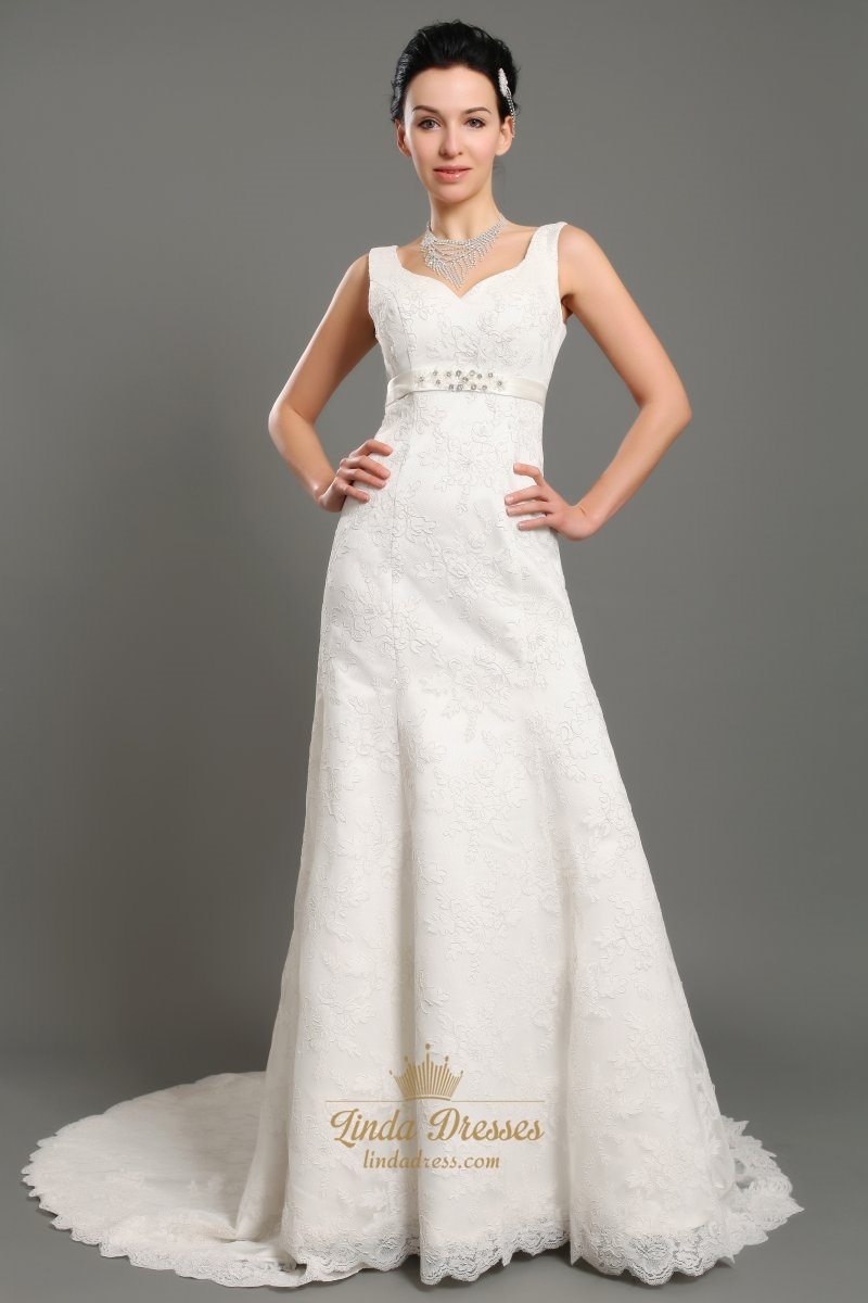 Ivory V Neck Empire Waist Lace A Line Wedding Dresses With Beaded ...