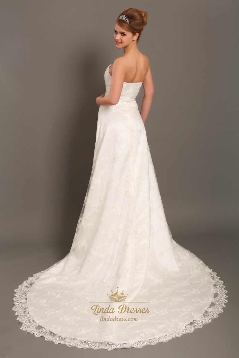Ivory Lace Strapless Sweetheart Wedding Dresses Vintage