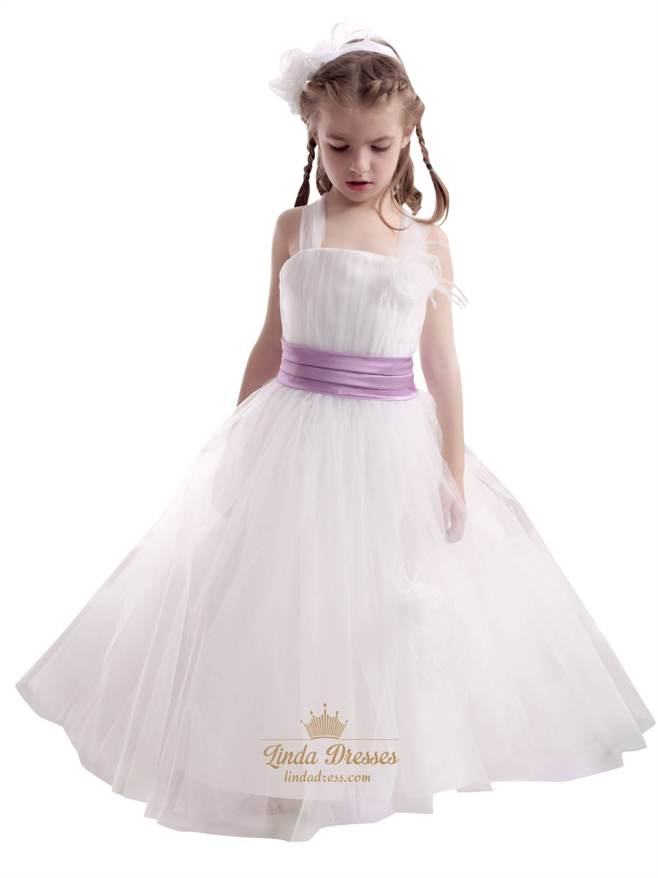 White tulle purple sash flower girl dress with flowers and feathers white tulle purple sash flower girl dress with flowers and feathers mightylinksfo