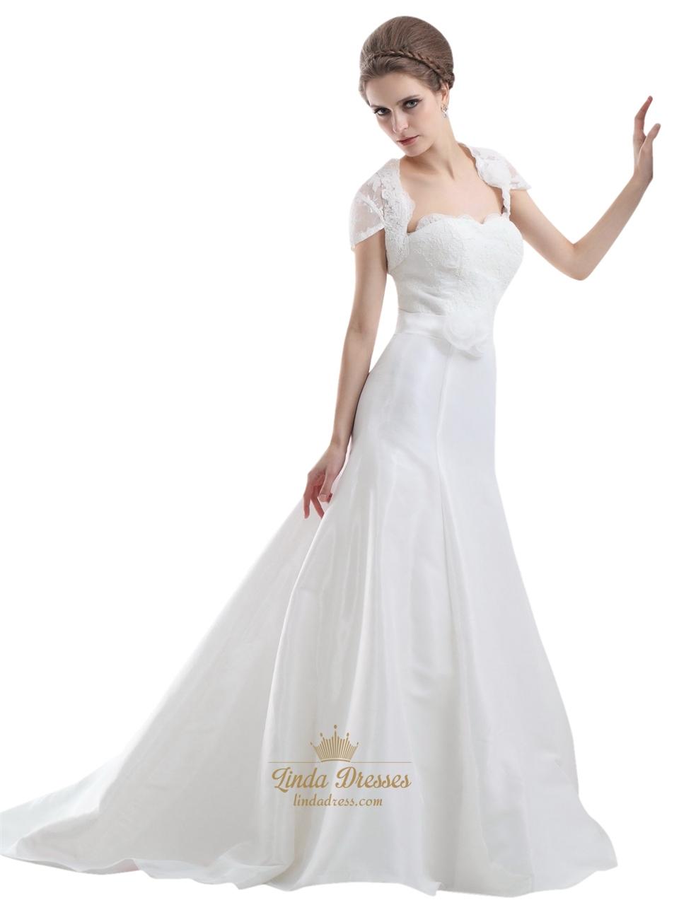 Ivory strapless flowers embellished mermaid wedding for Ivory strapless wedding dress