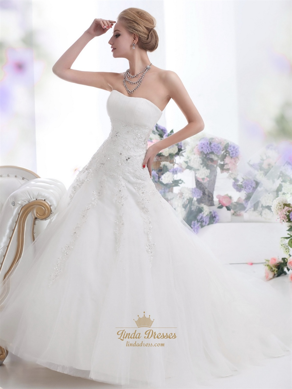 Ivory Strapless Tulle Ball Gown Wedding Gown With Beaded