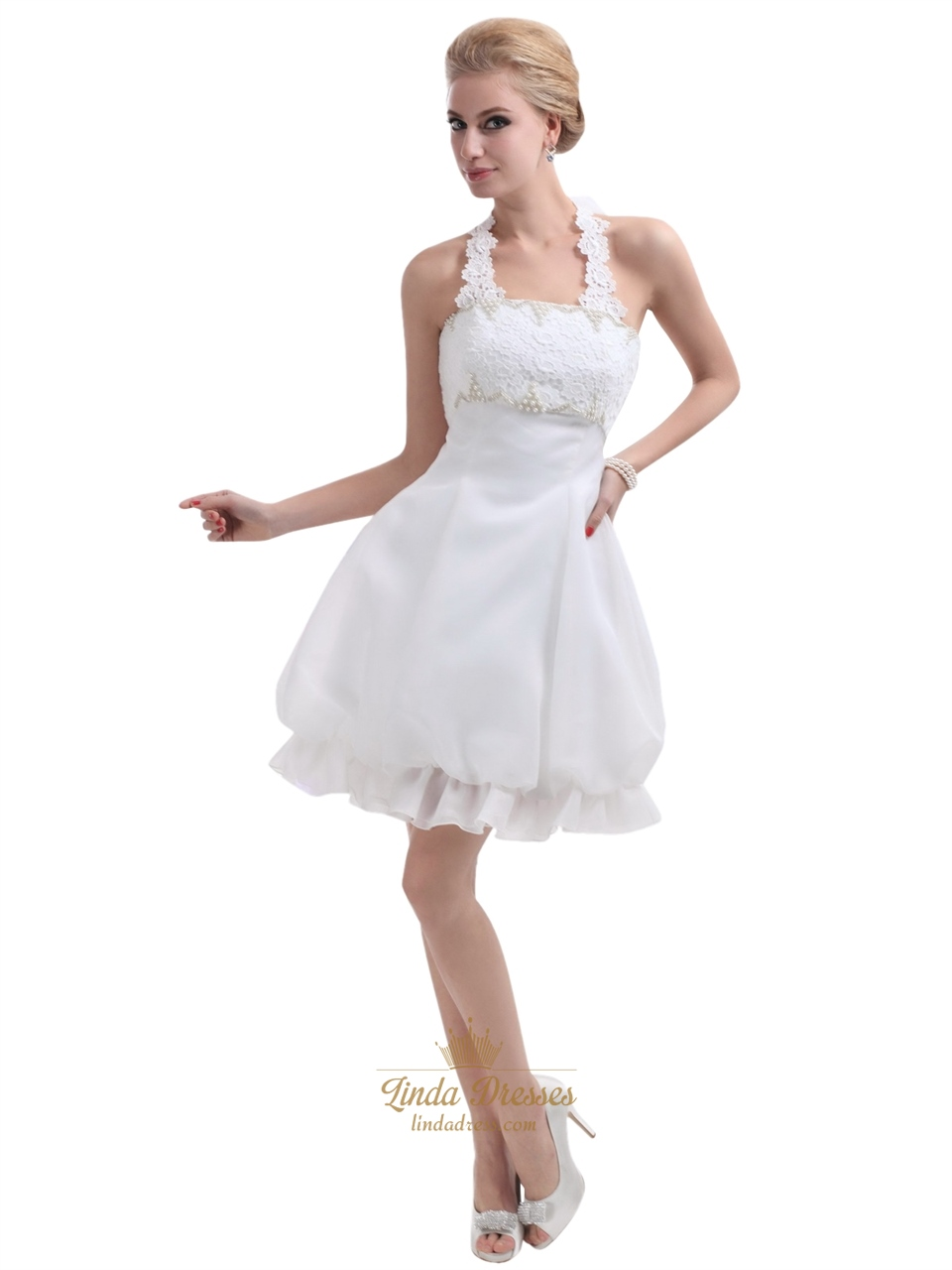 Short halter neck wedding dresses uk flower girl dresses for Short wedding dresses uk