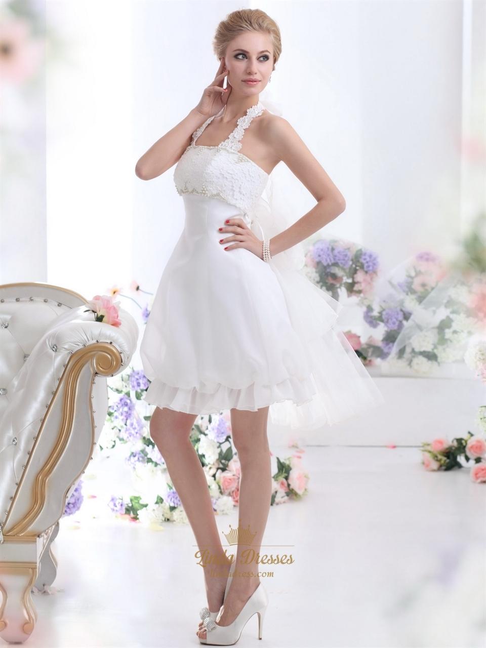 Short Halter Lace Wedding Dress