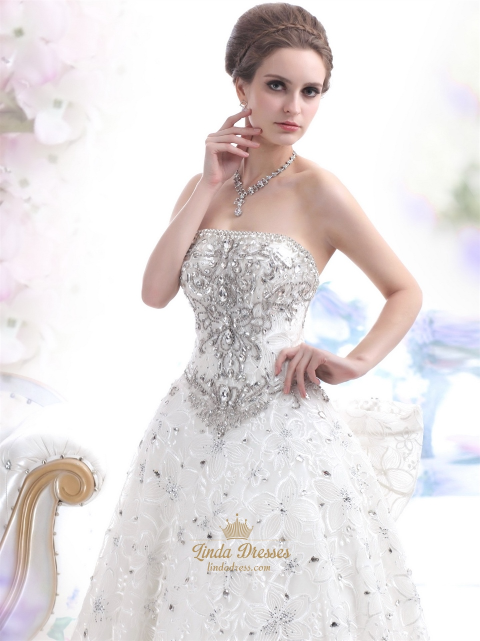Ivory Lace Fully Beaded Strapless Wedding Dress With Big Bow On Back ...