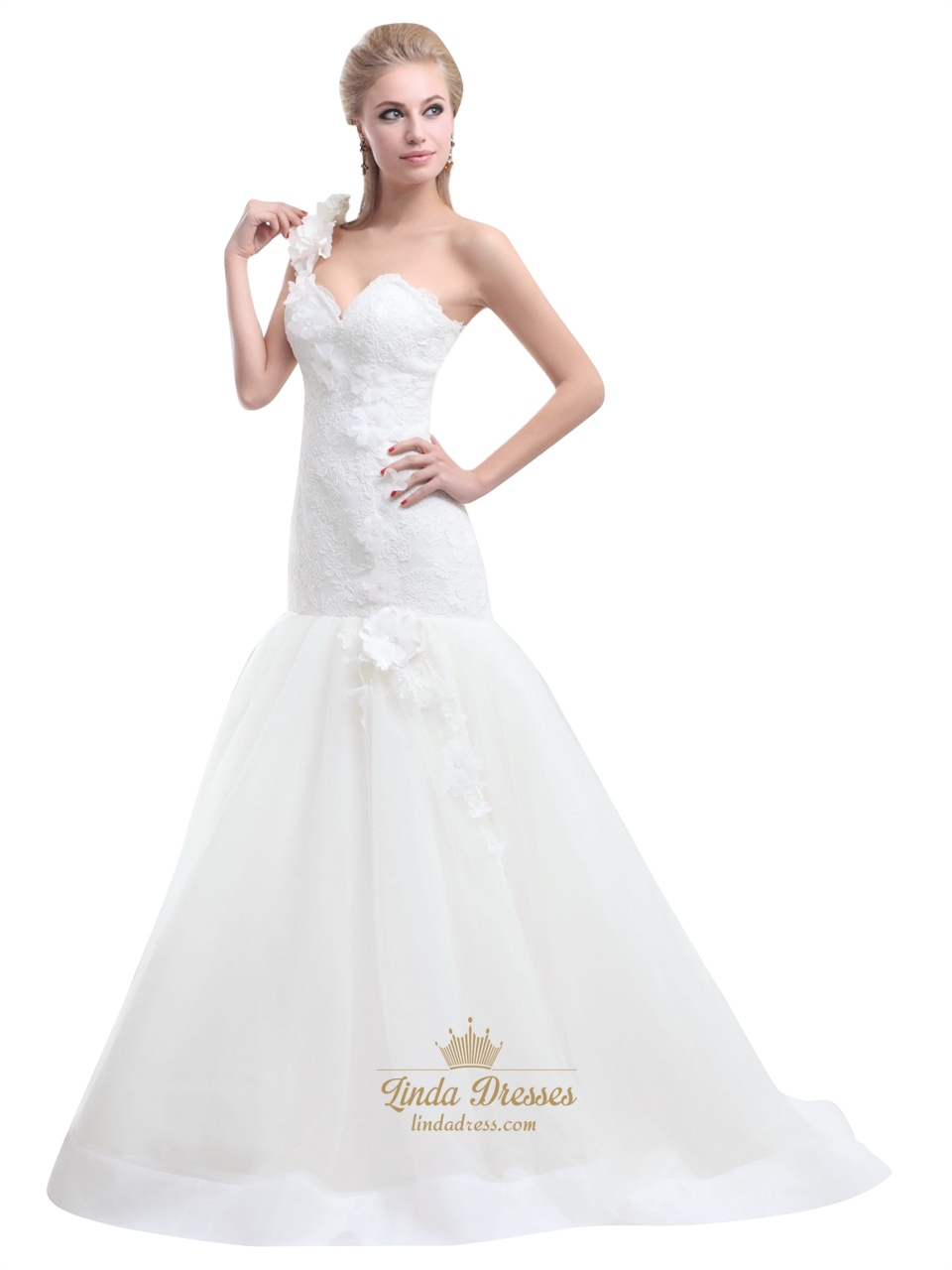 Ivory One Shoulder Flower Strap Mermaid Lace Bodice Tulle Wedding Dress Linda Dress