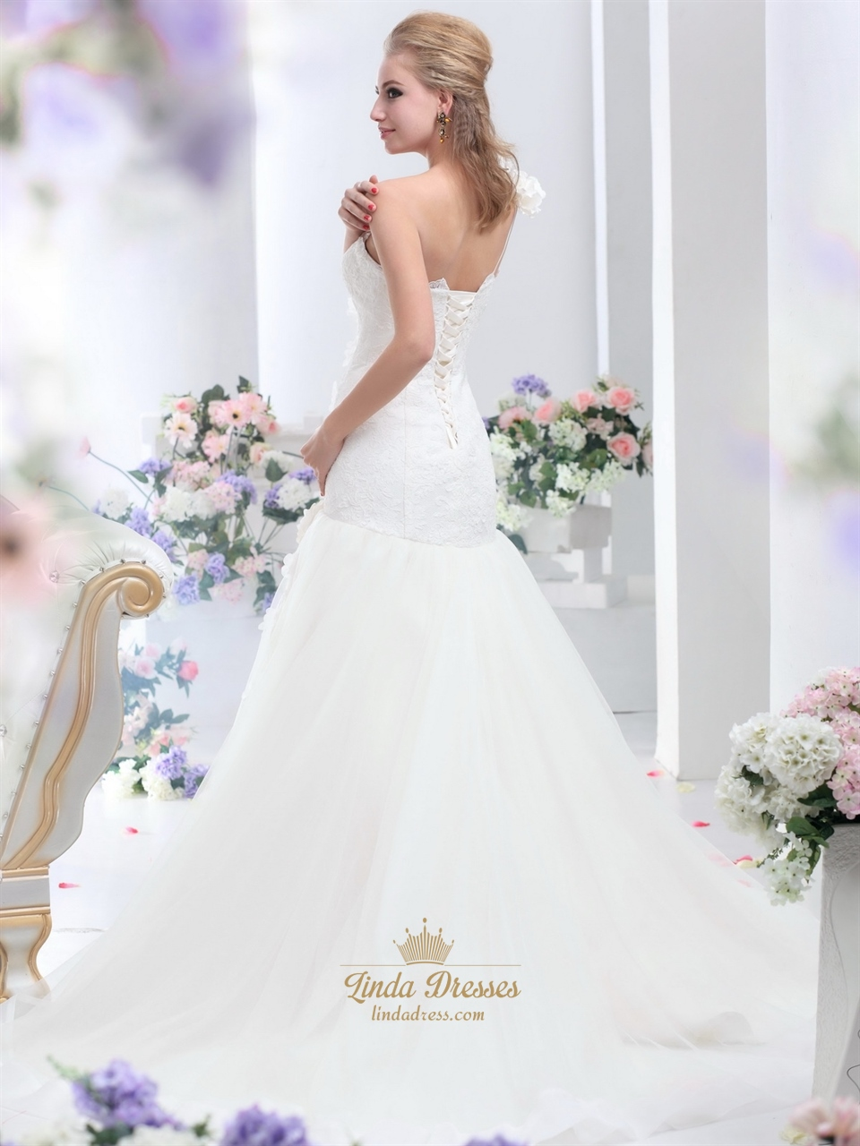 Ivory one shoulder flower strap mermaid lace bodice tulle for Lace one shoulder wedding dress