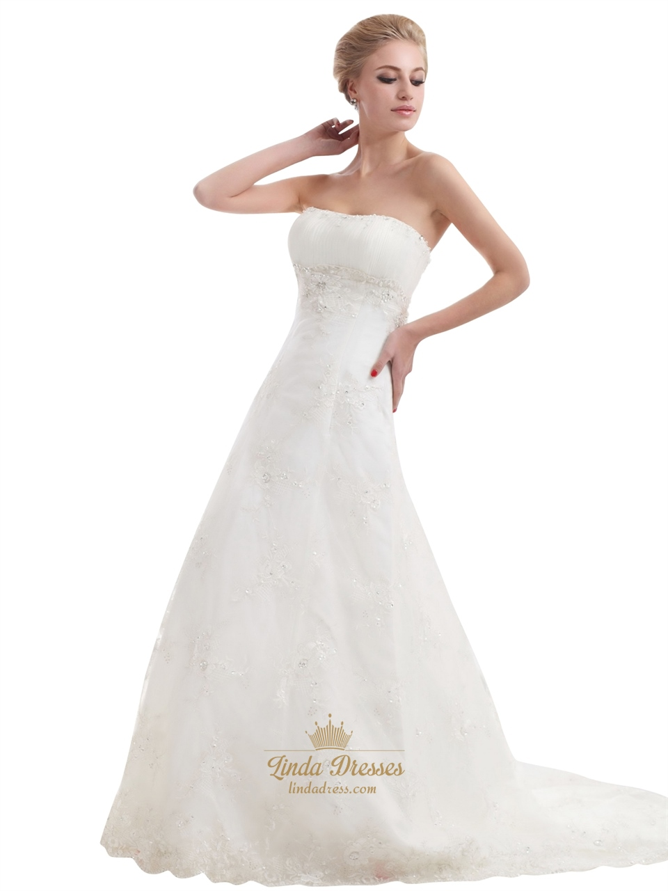 Ivory Strapless Empire Tulle Wedding Dresses With Beaded