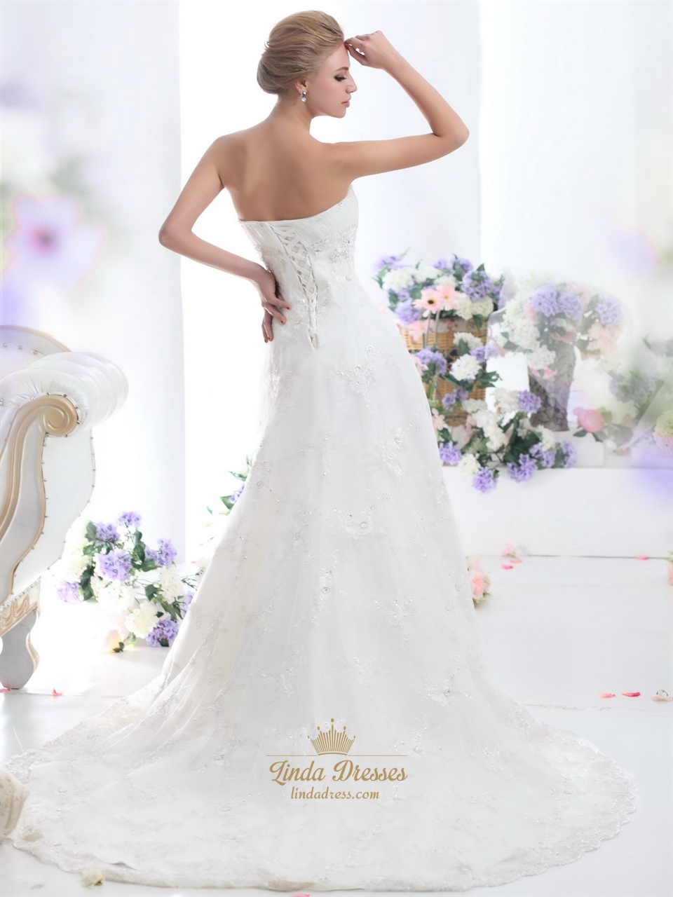 Ivory strapless empire tulle wedding dresses with beaded for Tulle halter wedding dress