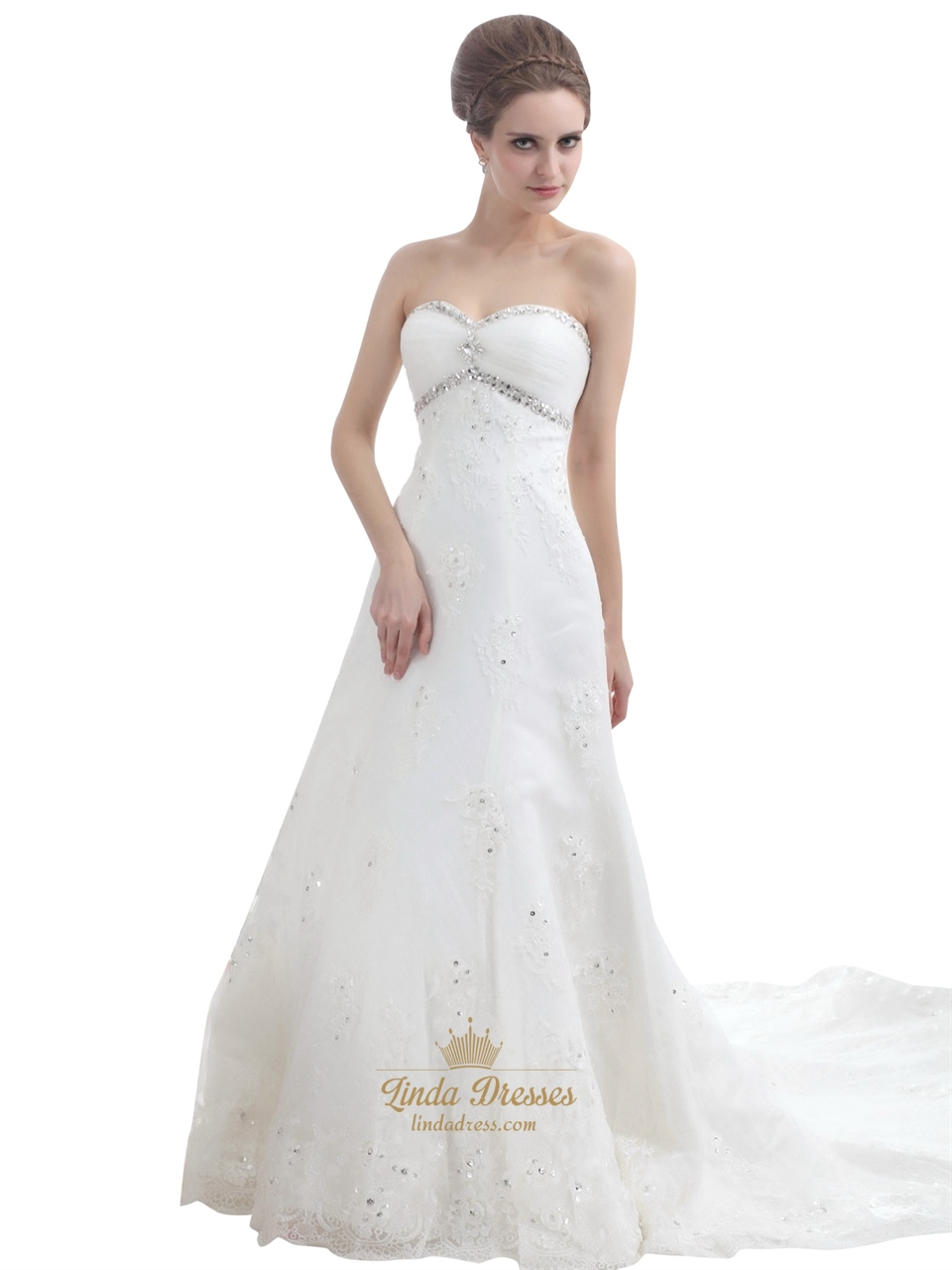 Ivory Strapless Beaded Tulle Wedding Dresses With Semi