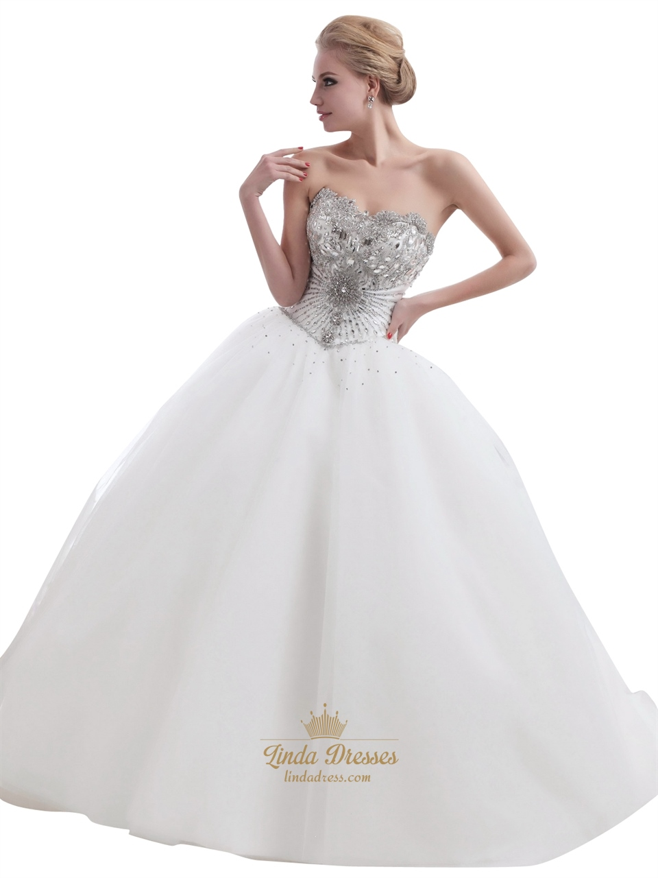 Ivory Sweetheart Ball Gown Heavily Beaded Bodice Tulle Wedding Dress ...