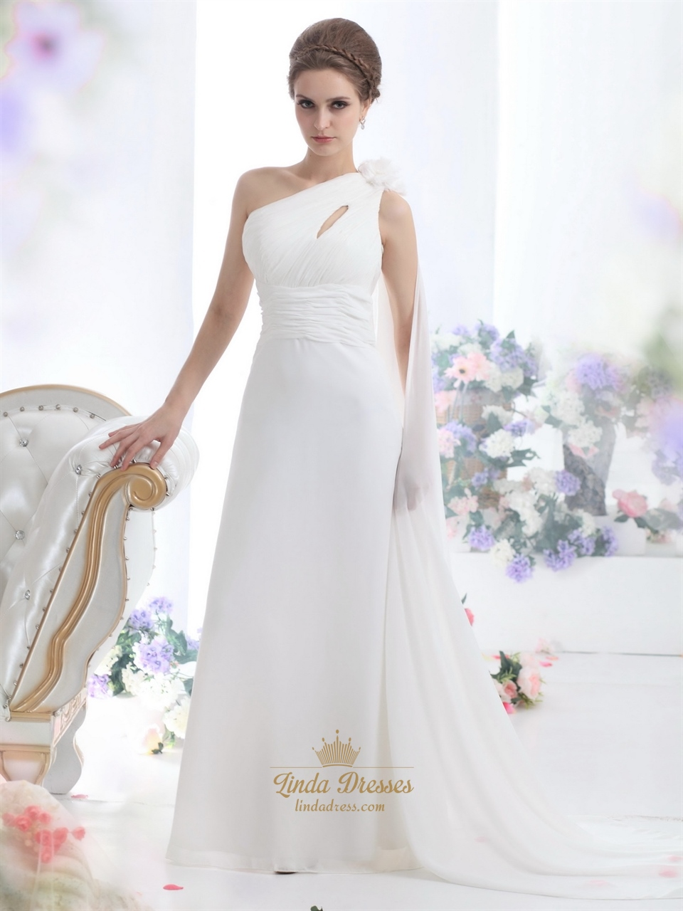 Ivory one shoulder chiffon beach watteau train wedding for Beach chiffon wedding dress