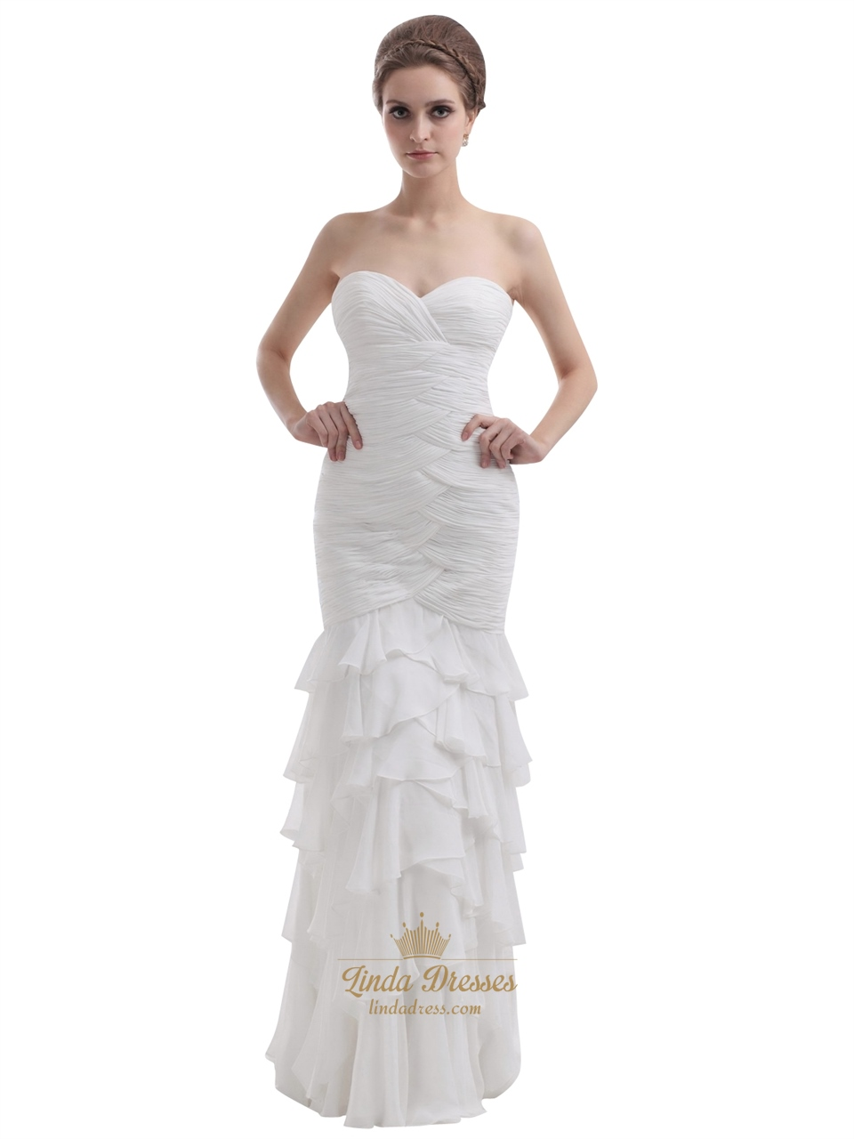 Ivory strapless sweetheart chiffon mermaid wedding dress for Ivory strapless wedding dress