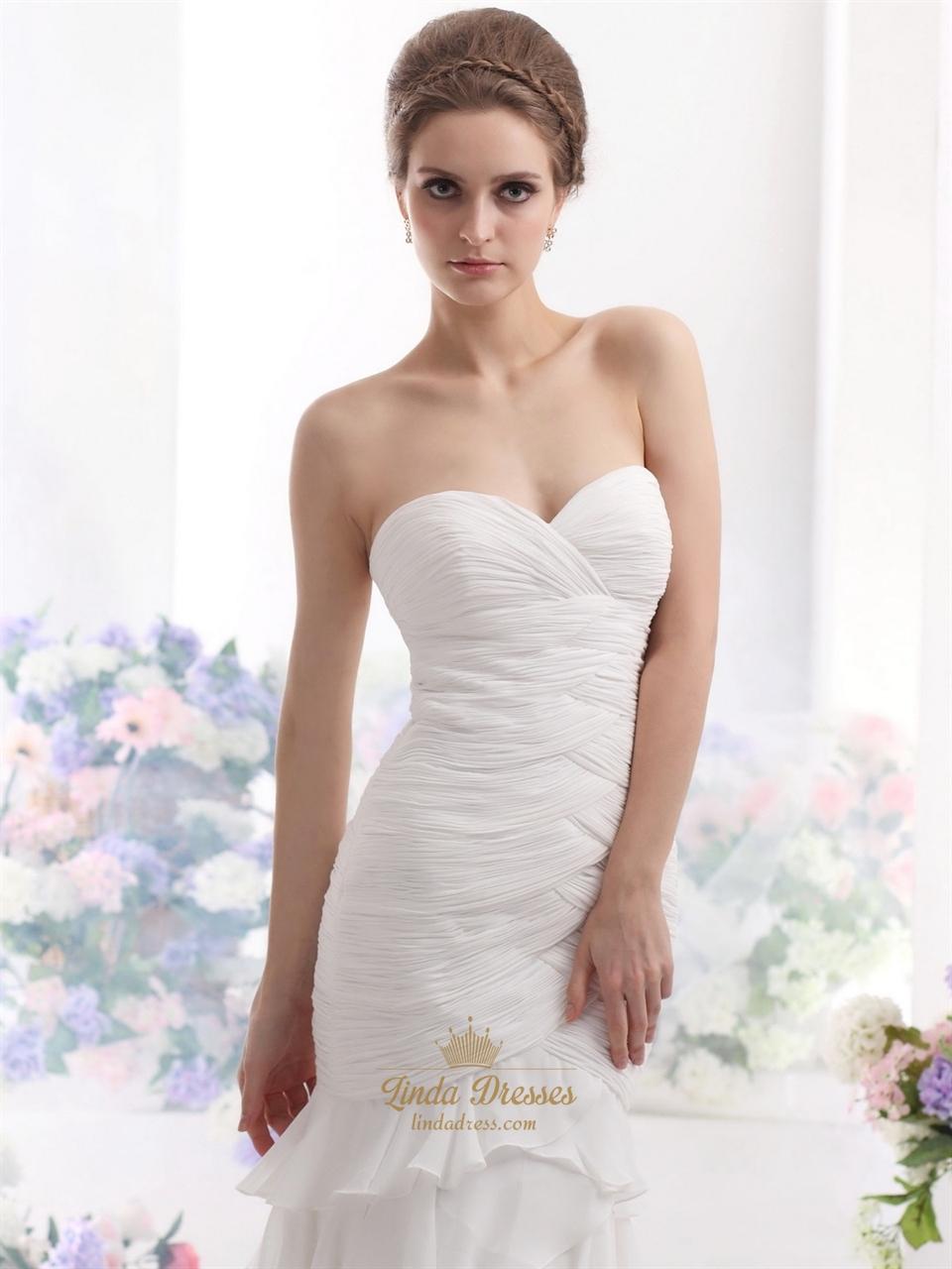 Ivory strapless sweetheart chiffon mermaid wedding dress for Strapless wedding dress with ruffles