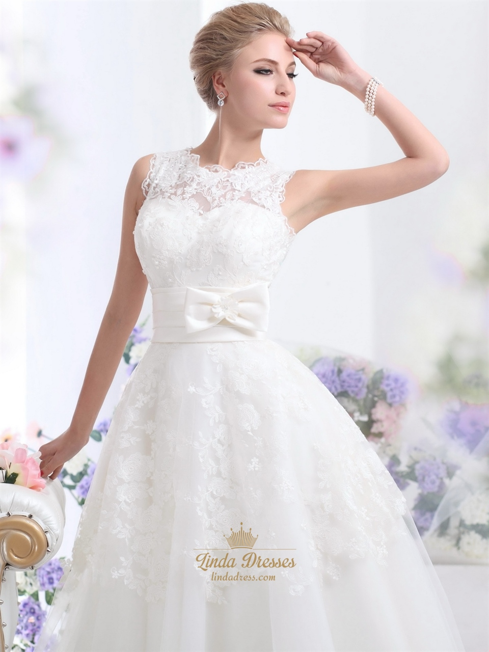 Ivory lace bodice tulle ankle length wedding dresses with for Lace ankle length wedding dress
