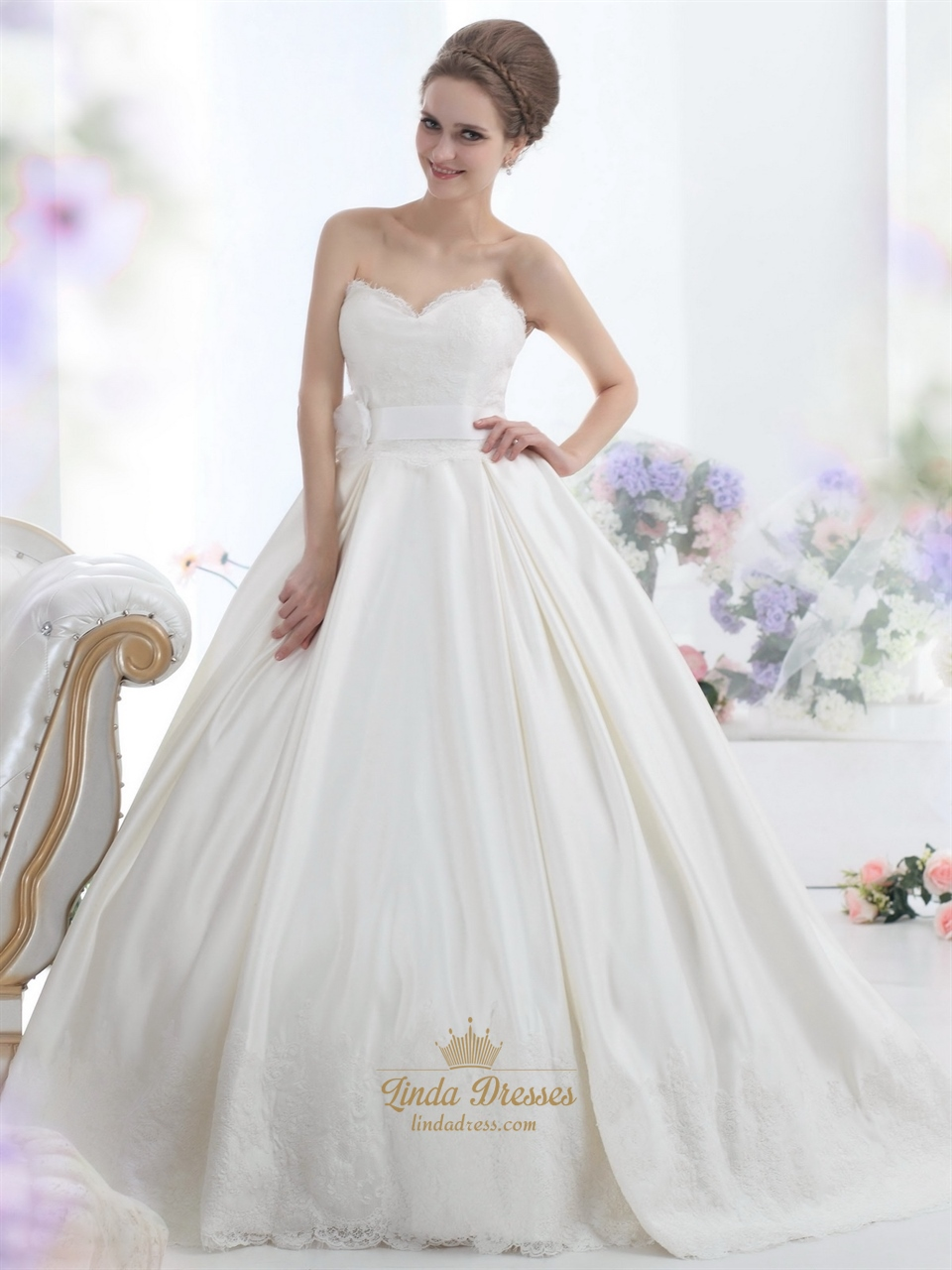 Ivory sweetheart strapless lace bodice wedding dress with for Wedding dresses with sashes