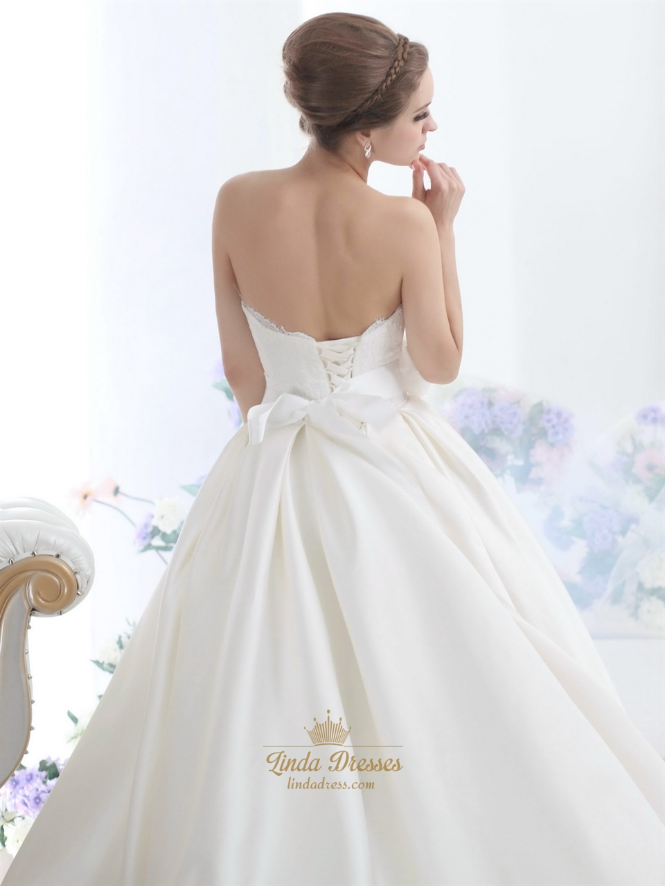Ivory sweetheart strapless lace bodice wedding dress with for Ivory wedding dress sash