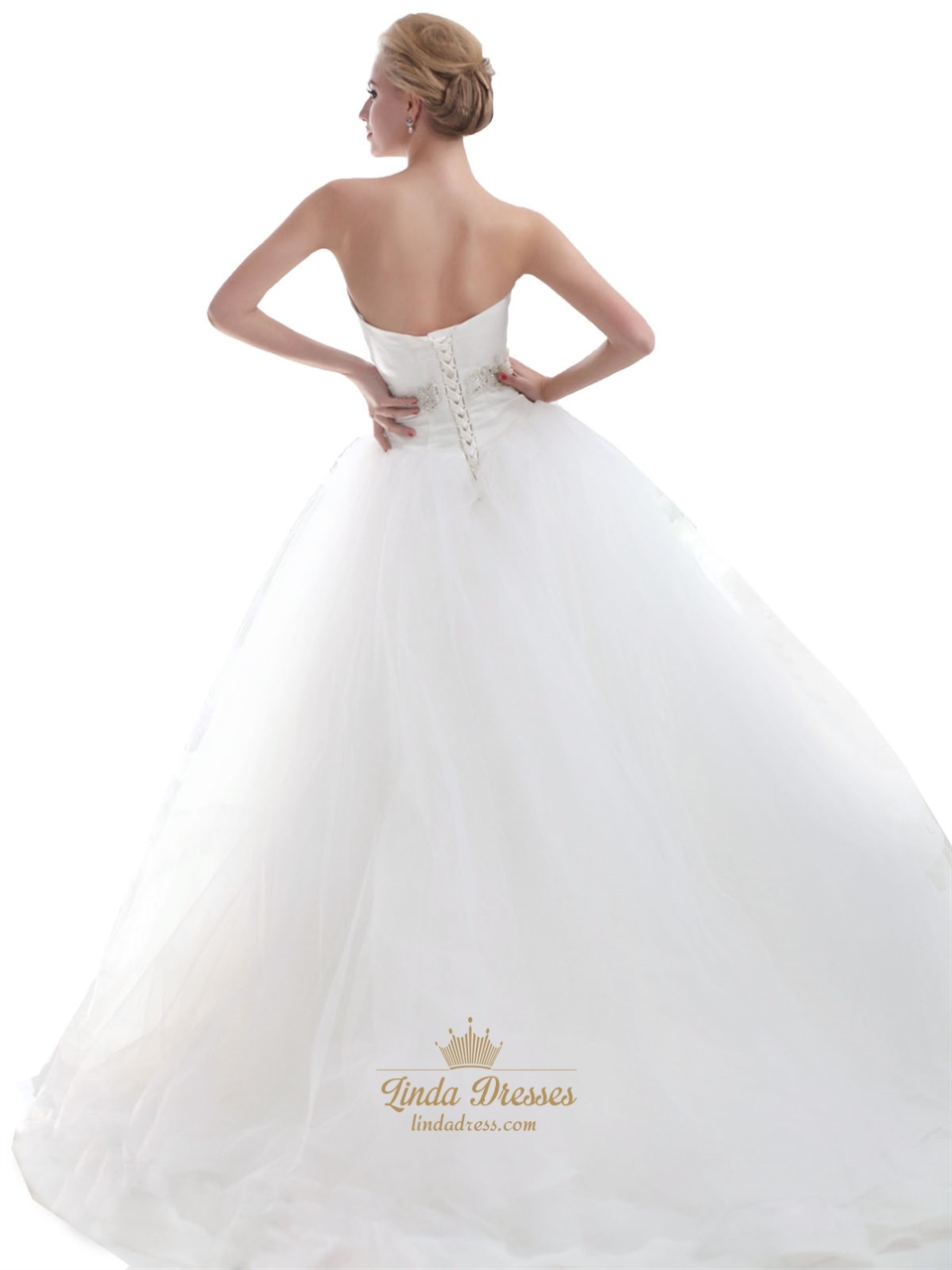 Ivory sweetheart dropped waist tulle wedding dresses with for Ivory beaded wedding dress