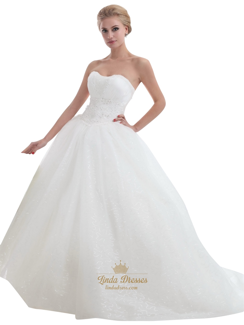 Ivory strapless tulle ball gown sweep train wedding for Ball gown tulle wedding dress