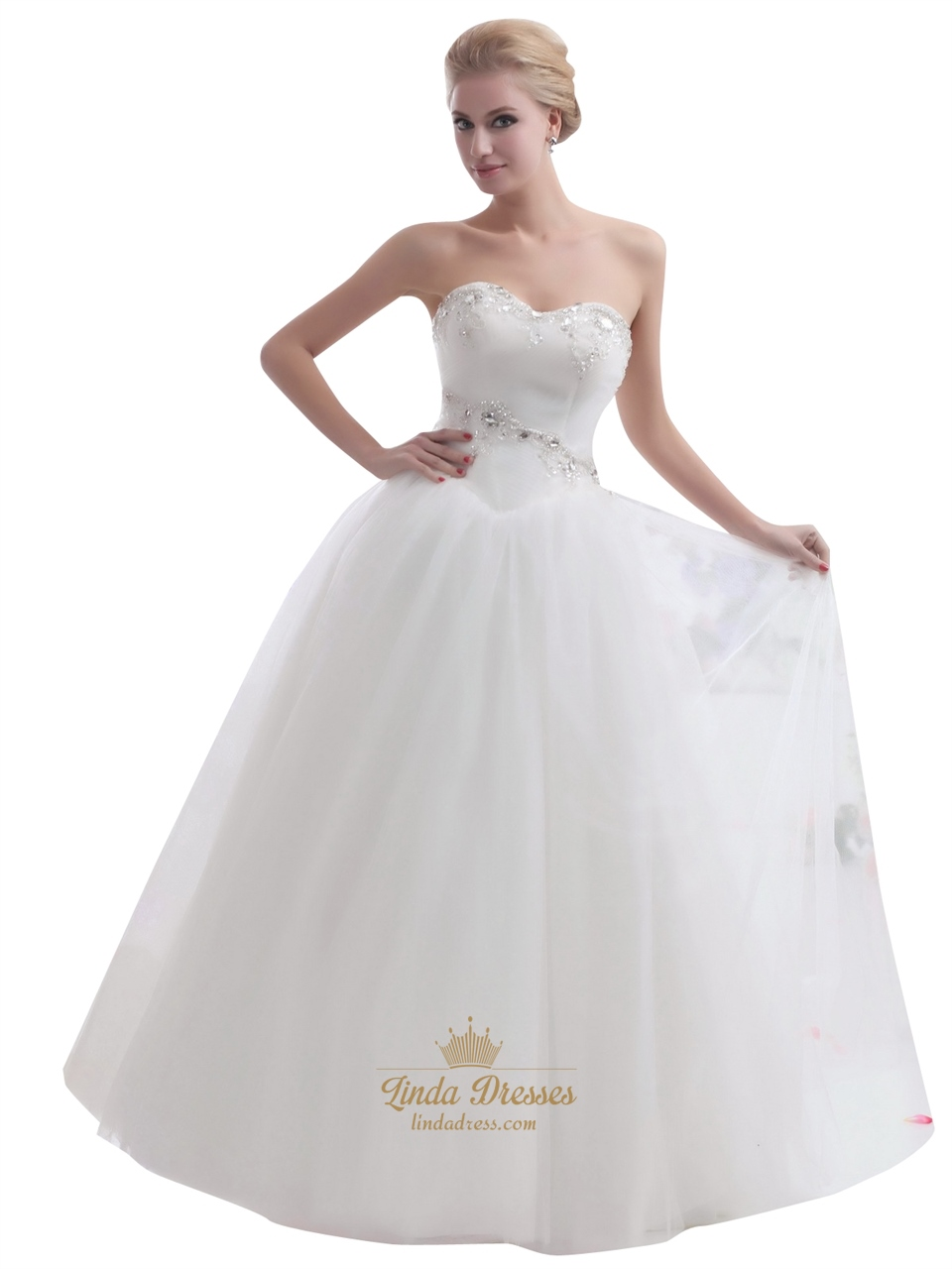 Ivory Sweetheart Tulle Ball Gown Wedding Dress With Beaded Appliques ...