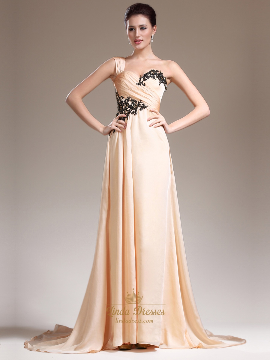 Peach One Shoulder A Line Chiffon Prom Dress With Lace Appliques ...