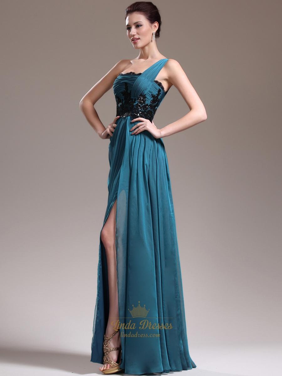 Teal One Shoulder A Line Chiffon Floor Length Prom Dress