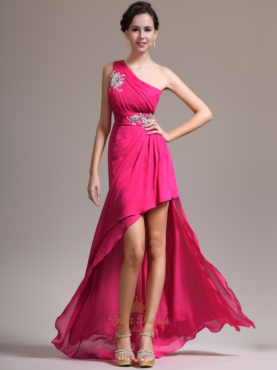 Hot Pink One Shoulder Prom Dress With Beaded Detail And