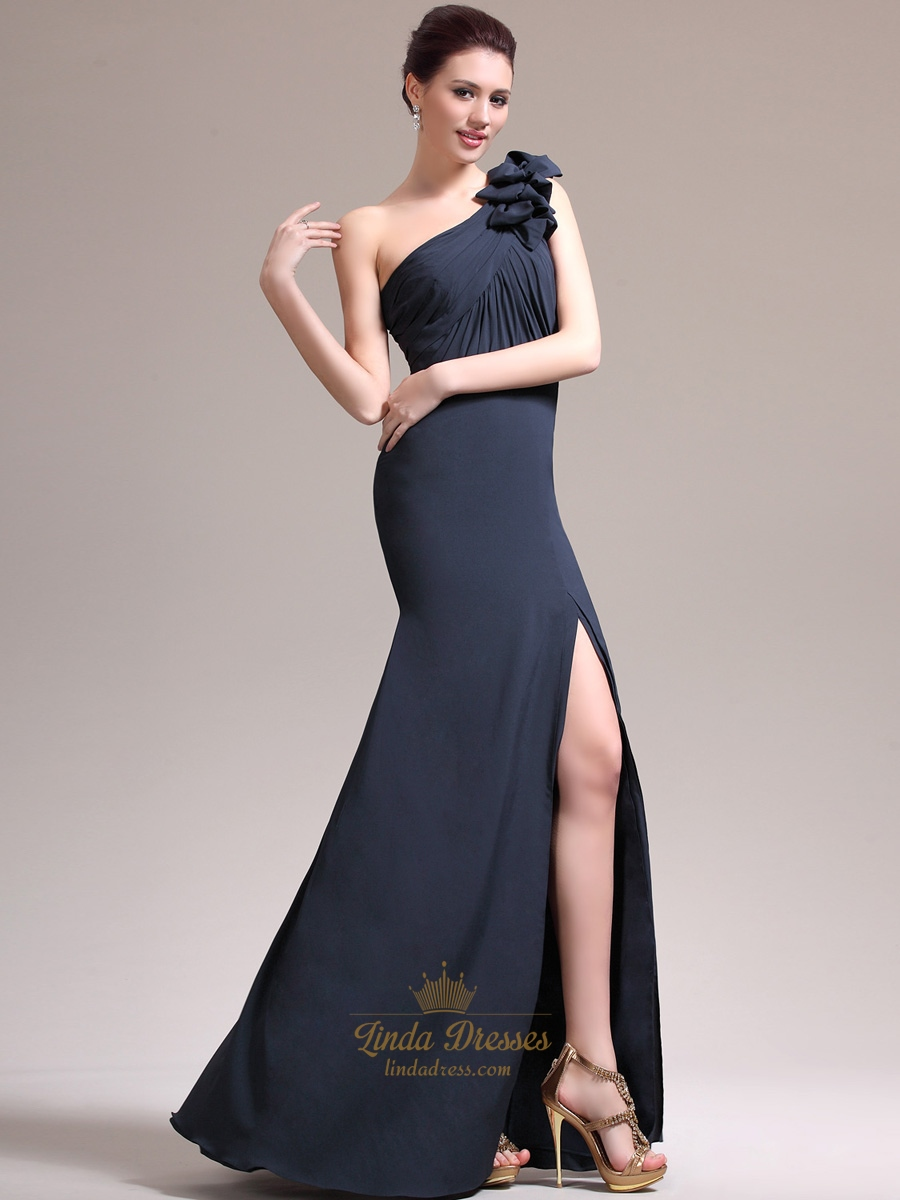 Navy Blue Sheath One Shoulder Flower Strap Chiffon Prom ...