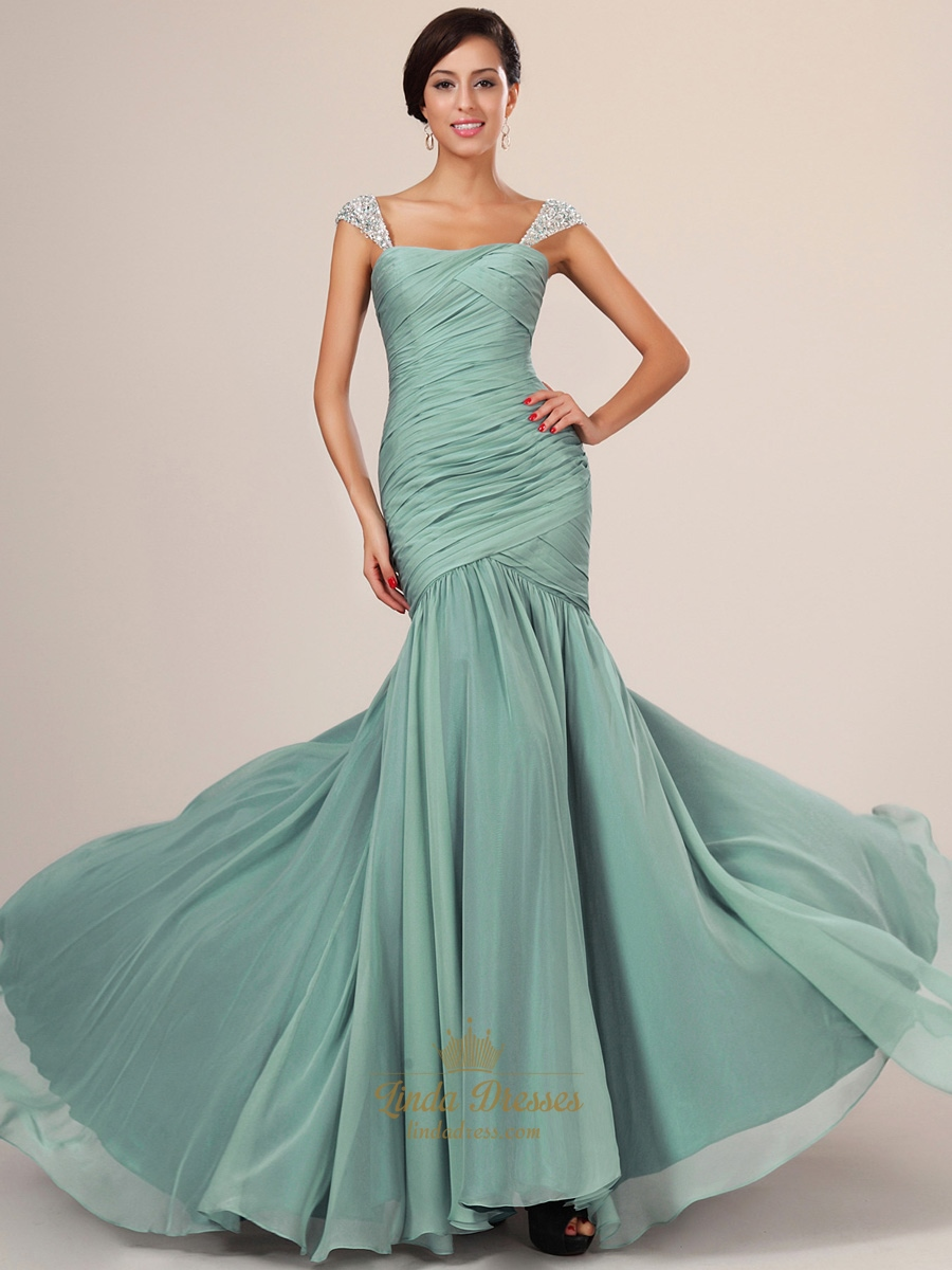 Flowy Sage Cap Sleeve Chiffon Mermaid Prom Dresses With Beaded ...