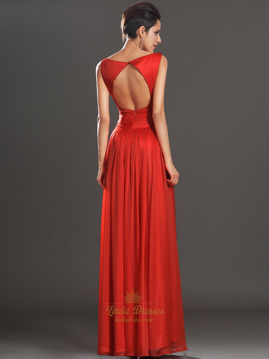 Red Bateau Neckline Chiffon Floor Length Prom Dress With