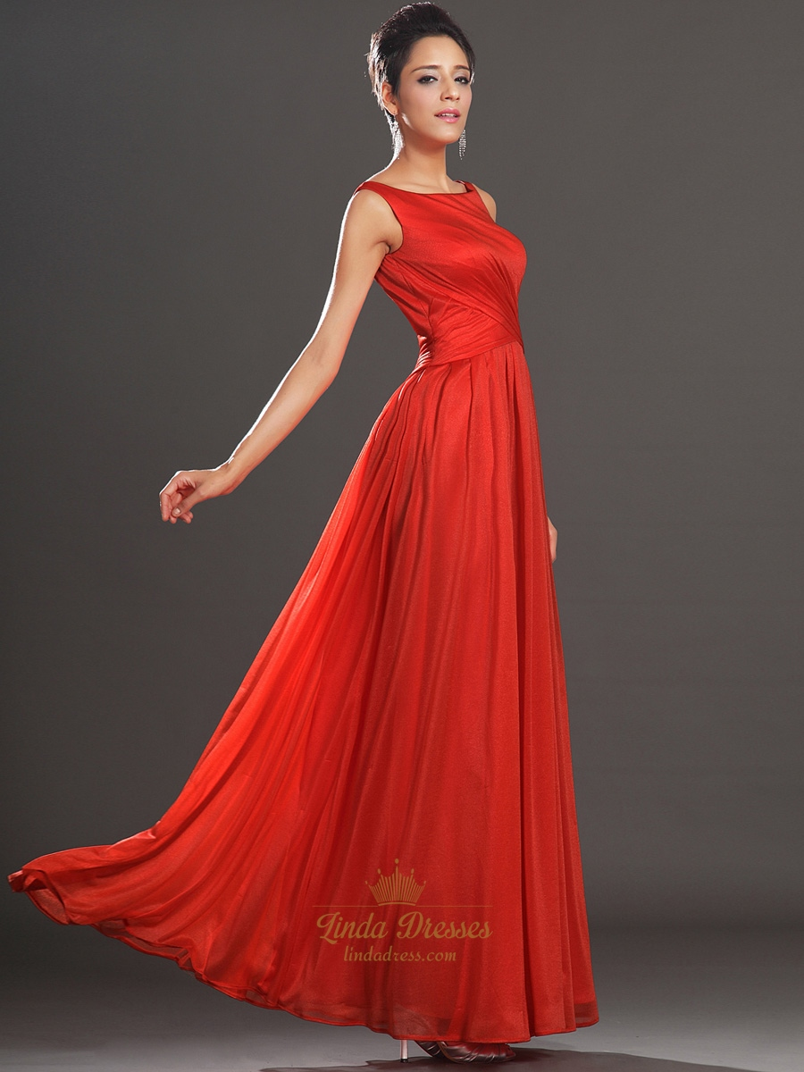 red chiffon floor length dress