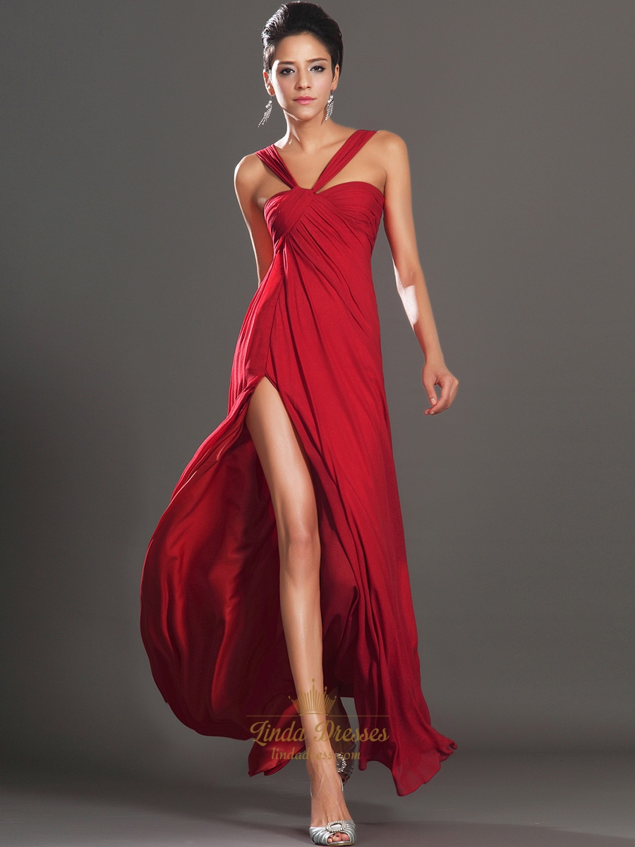 Red A-Line Empire Waist Split Side Chiffon Floor Length Prom Dress