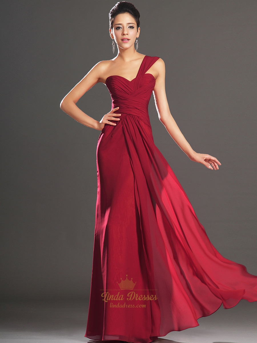 Elegant Red One Shoulder Chiffon Prom Dress With Pleated Bodice