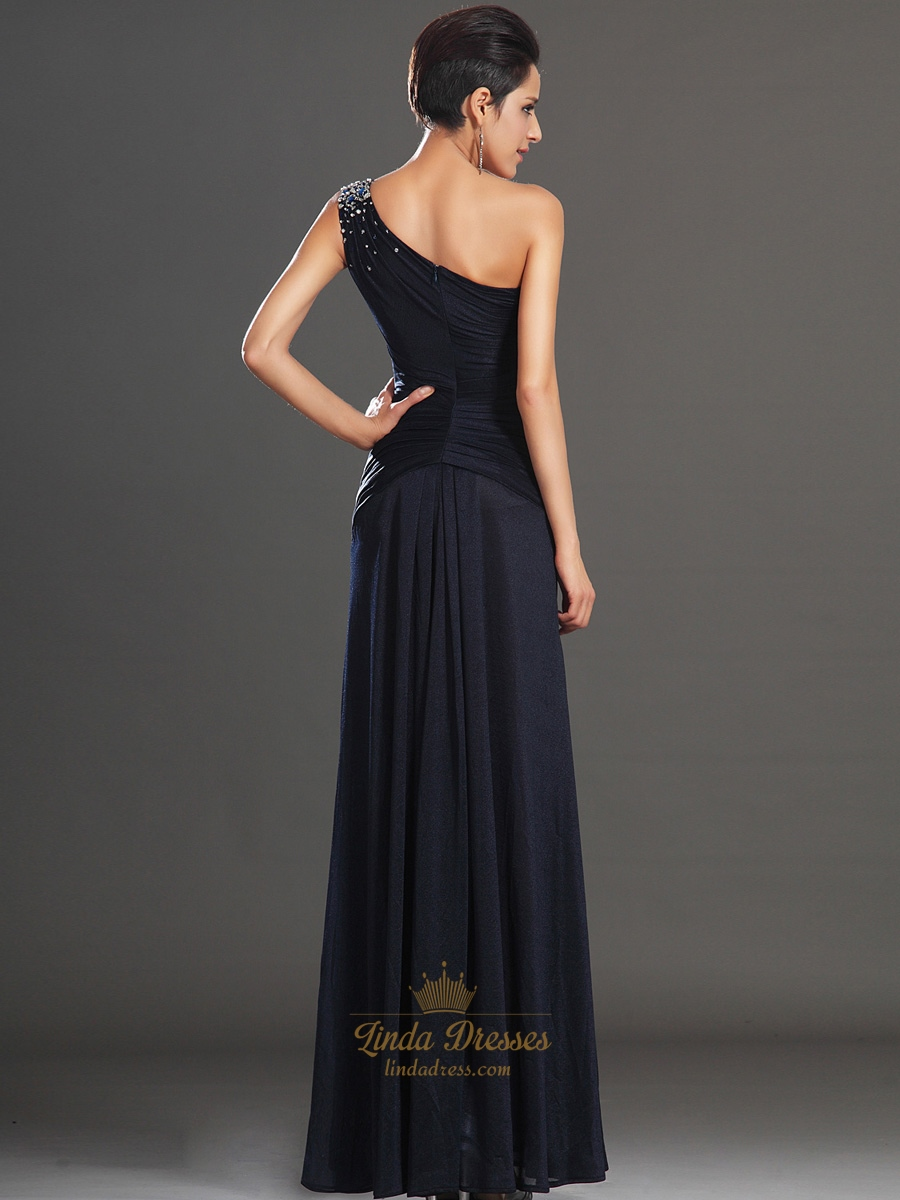 Navy Blue One Shoulder Sheath Chiffon Prom Dress With ...