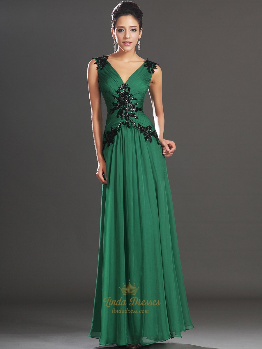 emerald green chiffon v neck prom dresses with beaded lace applique linda dress. Black Bedroom Furniture Sets. Home Design Ideas