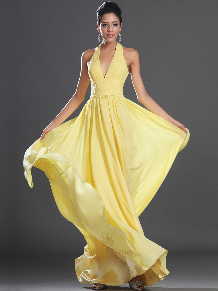 Yellow Chiffon A Line Halter V Neck Floor Length Prom Dress With ...