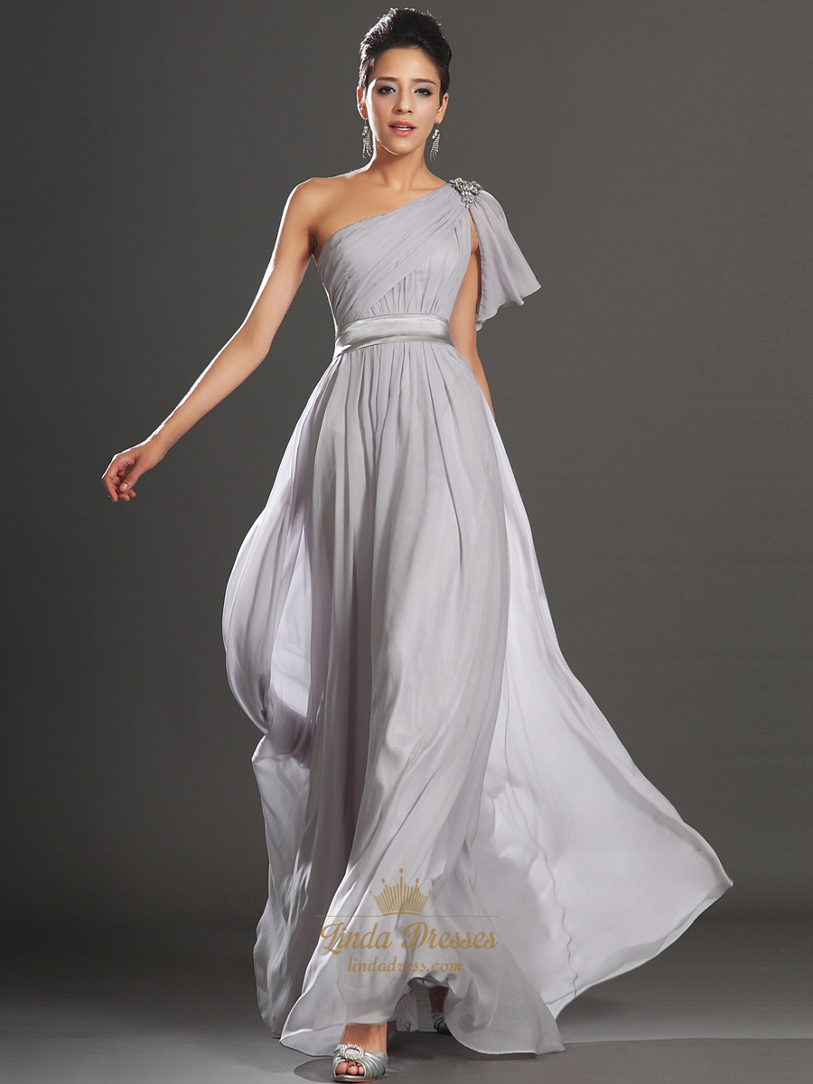 Light Grey One Shoulder A Line Chiffon Prom Dress With