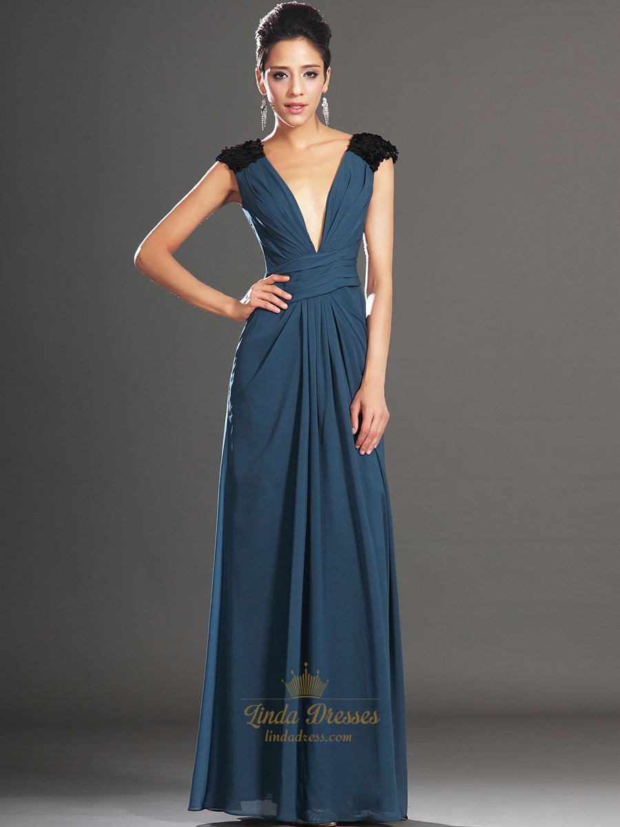 Teal Sequin Top Deep V-Neck Chiffon Long Prom Dress With Open Back ...