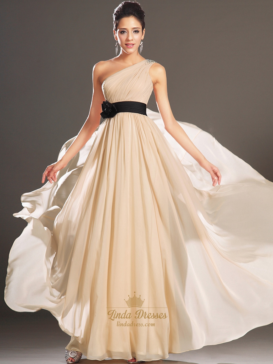 Champagne One Shoulder Beaded Straps Chiffon Prom Dress