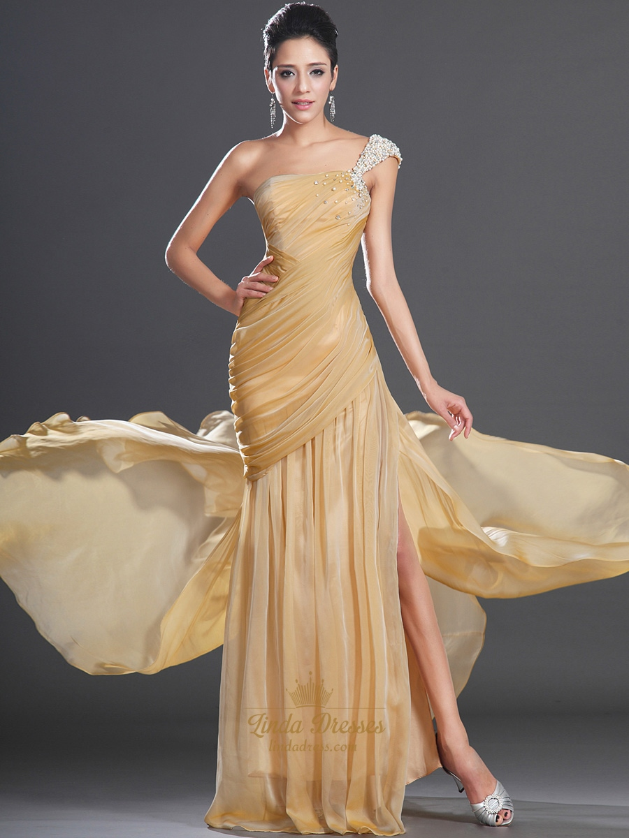 Gold One Shoulder Prom Dress With Ruched Bodice And Beaded Straps ...