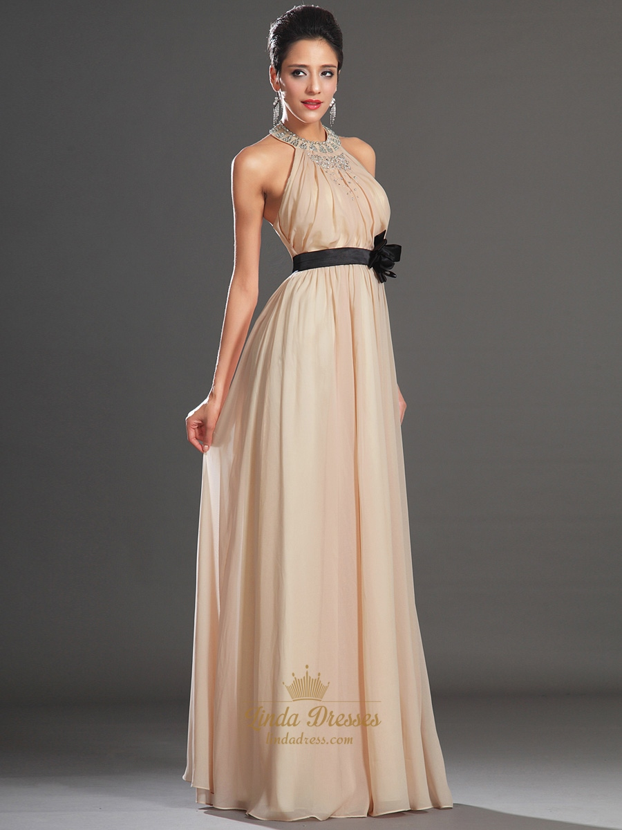 Champagne Beaded Jeweled Neckline Chiffon Prom Dress With