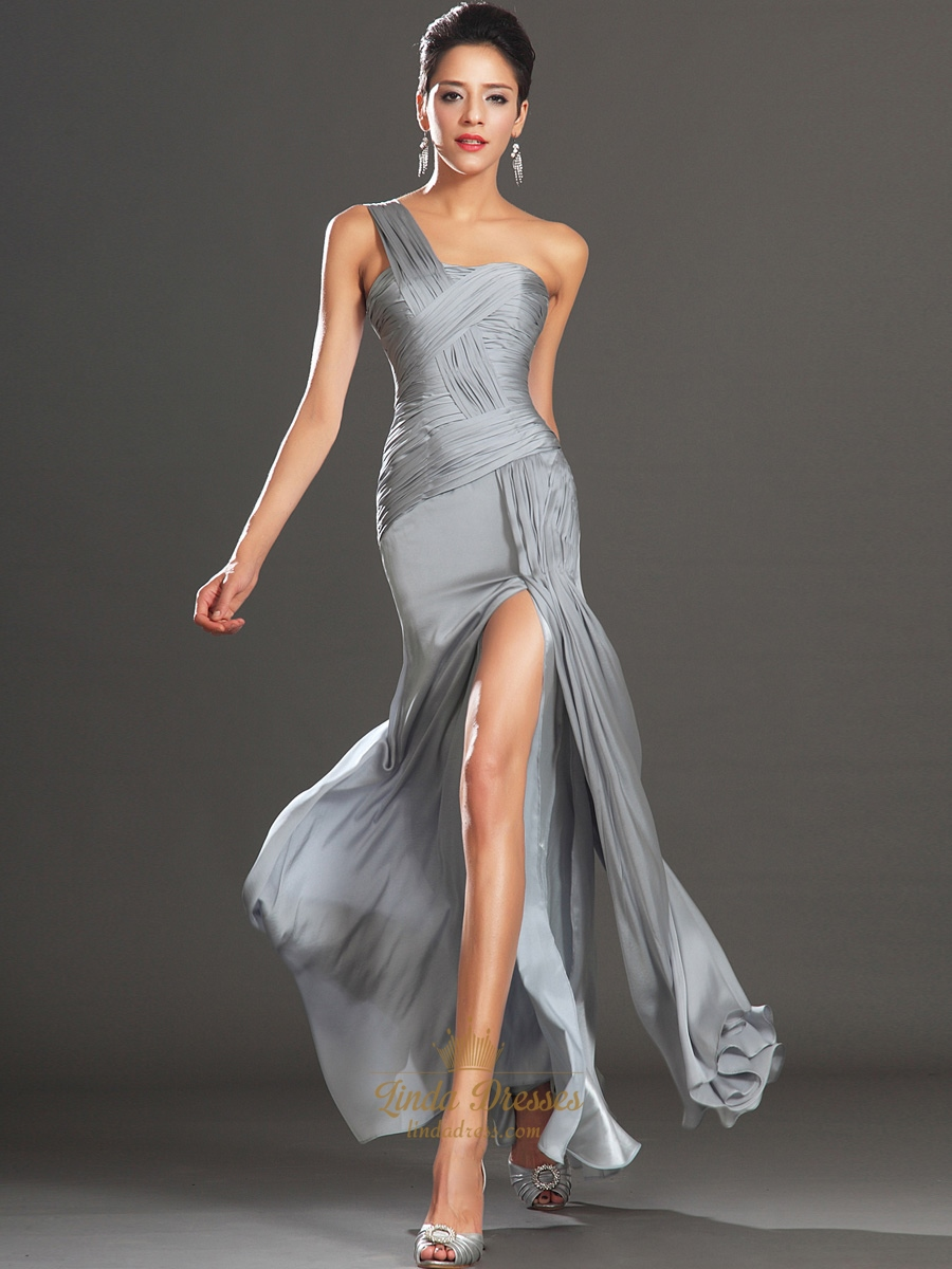 Grey Chiffon One Shoulder Pleated Bodice Prom Dress With