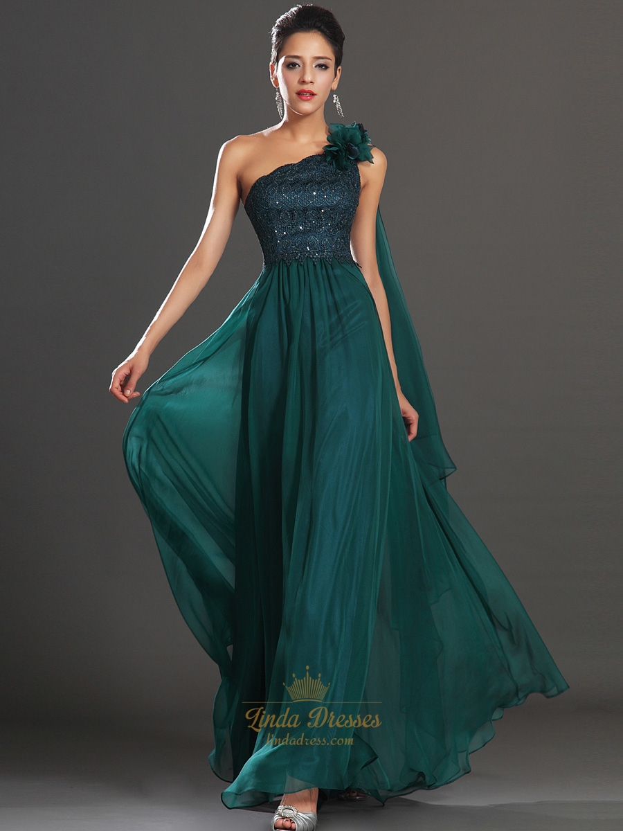 Emerald Green One Shoulder Chiffon Prom Dress With 3D Floral Detail ...