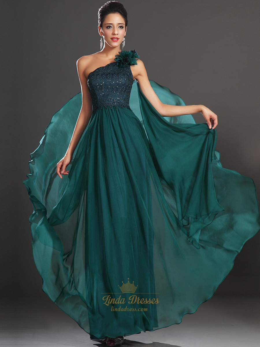 Emerald Green One Shoulder Chiffon Prom Dress With 3D