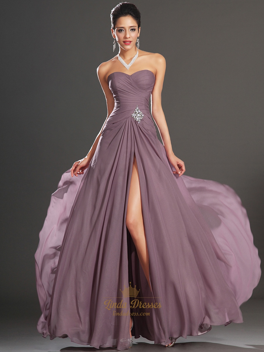 Purple Sweetheart Strapless A Line Chiffon Prom Dress With